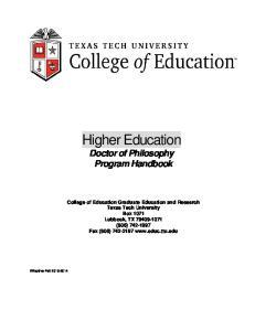 Higher Education Doctor of Philosophy Program Handbook