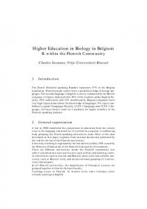 Higher Education in Biology in Belgium B. within the Flemish Community