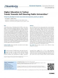 Higher Education in Turkey: Trends Towards Self-Steering Public Universities*