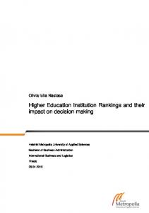 Higher Education Institution Rankings and their impact on decision making