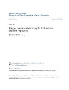 Higher Education Marketing to the Hispanic Student Population