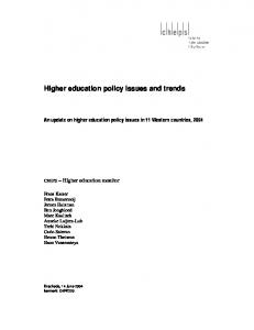 Higher education policy issues and trends