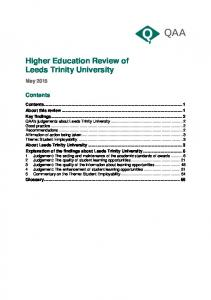 Higher Education Review of Leeds Trinity University