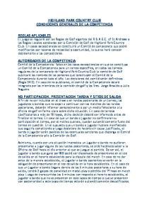 HIGHLAND PARK COUNTRY CLUB CONDICIONES GENERALES DE LA COMPETENCIA