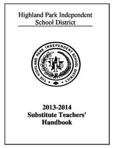 Highland Park Independent School District Substitute Teachers' Handbook