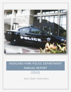 HIGHLAND PARK POLICE DEPARTMENT ANNUAL REPORT [2015]