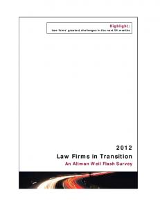 Highlight: Law firms greatest challenges in the next 24 months Law Firms in Transition. An Altman Weil Flash Survey