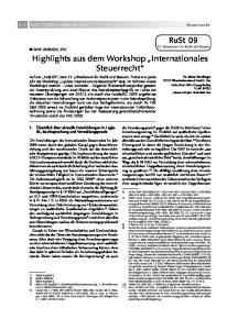 Highlights aus dem Workshop Internationales Steuerrecht