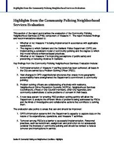 Highlights from the Community Policing Neighborhood Services Evaluation