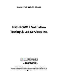 HIGHPOWER Validation Testing & Lab Services Inc