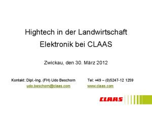 Hightech in der Landwirtschaft Elektronik bei CLAAS