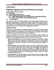 Highway Capacity and Level of Service Concepts