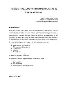 HIGIENE EN LOS ALIMENTOS EN UN RESTAURANTE DE COMIDA MEXICANA
