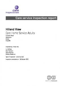 Hillend View Care Home Service Adults 14 Airdrie Road Caldercruix Airdrie ML6 8PA