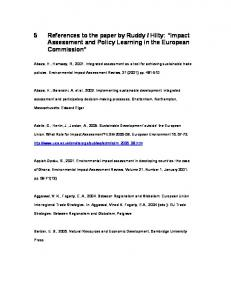 Hilty: Impact Assessment and Policy Learning in the European Commission