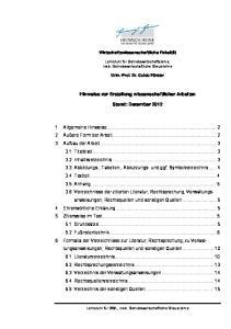 Hinweise zur Erstellung wissenschaftlicher Arbeiten. Stand: Dezember 2012