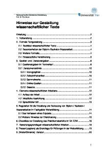 Hinweise zur Gestaltung wissenschaftlicher Texte