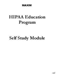 HIPAA Education Program. Self Study Module