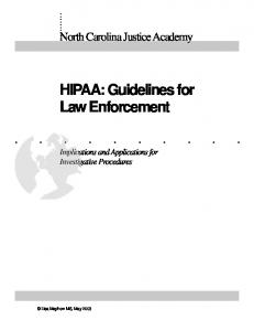 HIPAA: Guidelines for Law Enforcement