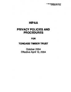 HIPAA PRIVACY POLICIES AND PROCEDURES FOR TONGASS TIMBER TRUST