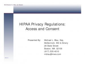 HIPAA Privacy Regulations: Access and Consent