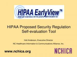 HIPAA Proposed Security Regulation Self-evaluation Tool