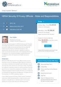 HIPAA Security & Privacy Officials - Roles and Responsibilities