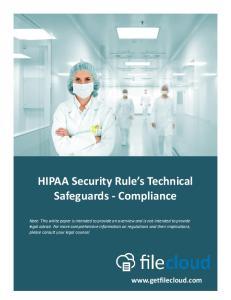 HIPAA Security Rule s Technical Safeguards - Compliance