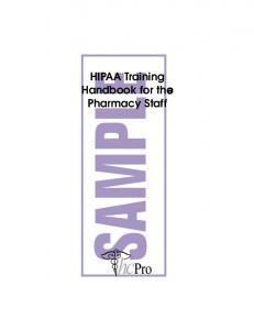 HIPAA Training Handbook for the Pharmacy Staff