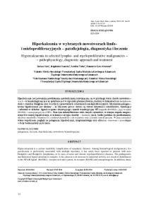 Hiperkalcemia w wybranych nowotworach limfoi mieloproliferacyjnych patofizjologia, diagnostyka i leczenie