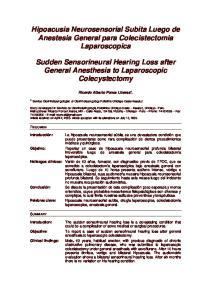 Hipoacusia Neurosensorial Subita Luego de Anestesia General para Colecistectomia Laparoscopica