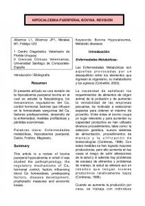 HIPOCALCEMIA PUERPERAL BOVINA. REVISION