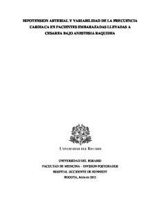 HIPOTENSION ARTERIAL Y VARIABILIDAD DE LA FRECUENCIA CARDIACA EN PACIENTES EMBARAZADAS LLEVADAS A CESAREA BAJO ANESTESIA RAQUIDEA