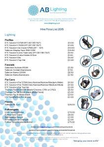Hire Price List 2015