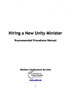 Hiring a New Unity Minister