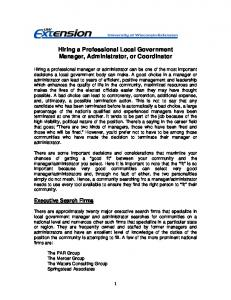 Hiring a Professional Local Government Manager, Administrator, or Coordinator