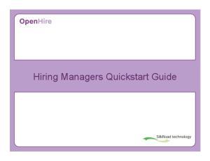 Hiring Managers Quickstart Guide