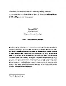 Hiroyuki OKON. DRAFT: Do not cite without permission. Faculty of Economics. Kokugakuin University, Tokyo, Japan