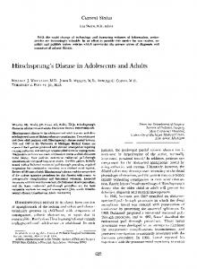 Hirschsprung's Disease in Adolescents and Adults