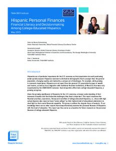 Hispanic Personal Finances Financial Literacy and Decisionmaking Among College-Educated Hispanics