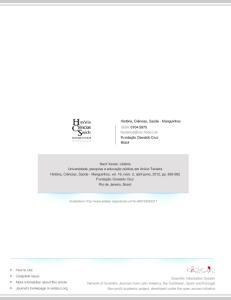 História, Ciências, Saúde - Manguinhos ISSN: Fundação Oswaldo Cruz Brasil