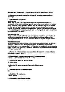 Historia de la clase obrera y el movimiento obrero en Argentina :
