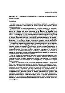 HISTORIA DE LA MEDICINA INTENSIVA EN LA PROVINCIA DE SANTIAGO DE CUBA:
