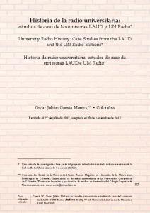 Historia de la radio universitaria: estudios de caso de las emisoras LAUD y UN Radio*