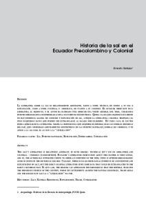Historia de la sal en el Ecuador Precolombino y Colonial