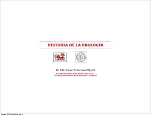 HISTORIA DE LA UROLOGIA