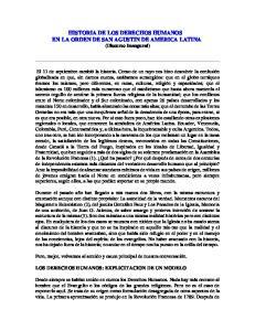 HISTORIA DE LOS DERECHOS HUMANOS EN LA ORDEN DE SAN AGUSTIN DE AMERICA LATINA (Discurso Inaugural)
