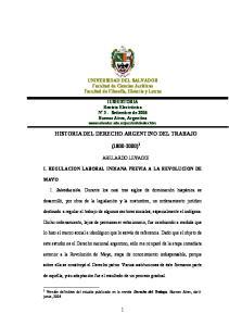 HISTORIA DEL DERECHO ARGENTINO DEL TRABAJO ( ) 1