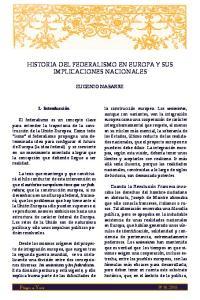 HISTORIA DEL FEDERALISMO EN EUROPA Y SUS IMPLICACIONES NACIONALES