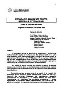 HISTORIA DEL MOVIMIENTO OBRERO NACIONAL E INTERNACIONAL